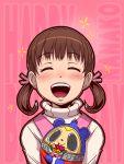 :d ^_^ blush brown_hair character_doll character_name closed_eyes doll doujima_nanako eyes_closed hair_ribbon holding kuma_(persona_4) open_mouth outline persona persona_4 ribbon smile solo taru_neko twintails