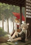 animal_ears bad_id bad_perspective blonde_hair bush grey_hair jewelry mouse_ears mouse_tail multiple_girls nazrin pendant rain red_eyes short_hair sitting socks standing tail tatami toramaru_shou touhou tree umbrella urin yellow_eyes