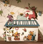bookshelf creature crustle galvantula genesect house insect joltik leaf mothim ninjask nintendo no_humans parasect plant pokemon pokemon_(game) pokemon_bw scolipede spider_web spinarak vespiquen volbeat watch watering_can wurmple yamaarashi yanmega