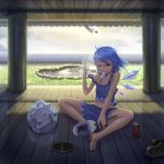 :< adapted_costume ahoge bad_hands bare_legs bare_shoulders barefoot blue_eyes blue_hair can cirno cloud clouds fan fang fence frozen highres hot ice ice_wings kedama looking_at_viewer mosquito_coil mouth_hold navel off_shoulder pond popsicle reflection shoes shoes_removed short_hair shorts sitting sky soda_can solo strap_slip sweat tail touhou wings wink zhengyifan7
