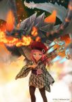 blue_eyes dragon energy_weapon fire flower hat hikimayu japanese_clothes kimono looking_at_viewer midorikawa_you obi petite phantasy_star phantasy_star_online_2 pointy_ears science_fiction thigh-highs thighhighs vol_dragon wand yukata