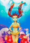 1girl bikini blue_eyes breasts brown_hair character_request cleavage koumori long_hair magikarp marill mei_(pokemon) navel oshawott pokemon pokemon_(creature) pokemon_(game) pokemon_bw2 seaking smile starmie swimsuit twintails tympole underwater wailord yellow_bikini