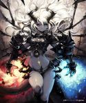 armor blue_eyes breastplate copyright_notice cygames dragon_girl gauntlets grey_skin heterochromia highres horns lena_(zoal) long_hair looking_at_viewer pointy_ears red_eyes scar shingeki_no_bahamut solo thigh-highs thighhighs watermark white_hair wings