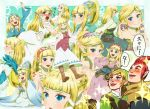 2boys adjusting_hair alternate_costume alternate_hairstyle bird blonde_hair blue_eyes blush boots character_sheet closed_eyes earrings expressions eyes_closed fingerless_gloves gloves groose hat headband heart high_ponytail jewelry link loftwing long_dress long_hair looking_at_viewer multiple_boys multiple_views nintendo open_mouth pointy_ears princess_zelda red_hair redhead skyward_sword smile sparkle the_legend_of_zelda tiara tomatama waving