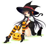 black_hair boots cat hat hat_ribbon high_heels jack-o'-lantern jack-o'-lantern long_hair looking_at_viewer mada_(mk333) necktie original panties pantyshot_sitting purple_eyes ribbon school_uniform sitting skirt smile solo striped striped_legwear striped_panties thigh-highs thighhighs underwear violet_eyes witch_hat