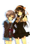 2girls absurdres blush brown_eyes brown_hair glasses grey_hair hairband highres itou_noiji long_hair multiple_girls nagato_yuki open_mouth school_uniform short_hair suzumiya_haruhi suzumiya_haruhi_no_yuuutsu
