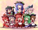 >_< :d ^_^ alternate_color alternate_hair_color arm_up arms_up black_hair blue_hair blush boots brown_hair chibi clone closed_eyes dress eyes_closed food fruit green_hair hat hinanawi_tenshi holding long_hair multiple_girls multiple_persona ominaeshi_(takenoko) open_mouth peach player_2 red_hair redhead silver_hair smile solid_circle_eyes sword_of_hisou touhou touhou_hisoutensoku