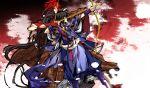 black_hair bow_(weapon) g_yuusuke game_cg kajiri_kamui_kagura koga_rindou red_hair redhead sakagami_habaki sky weapon