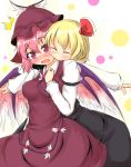 animal_ears ayatori_(aytr) blonde_hair blush breasts cheek-to-cheek cheek_to_cheek closed_eyes eyes_closed fang multiple_girls mystia_lorelei outstretched_arms pink_hair purple_eyes rumia spread_arms touhou wings yuri