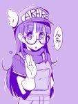 :o bust dr._slump glasses gloves hat long_hair monochrome norimaki_arale outline purple solo taru_neko translation_request