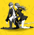 1girl card_in_mouth dual_persona falling_card genderswap katana kneeling long_hair monochrome mouth_hold narukami_yuu persona persona_4 school_uniform selfcest shiori_(1095951) short_hair simple_background skirt spot_color sword thigh-highs thighhighs weapon yellow_background