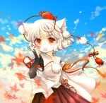 animal_ears hat inubashiri_momiji leaf maple_leaf open_mouth red_eyes short_hair silver_hair solo tokin_hat touhou umebayashi_saki wide_sleeves wolf_ears