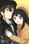 1girl black_hair brown_hair cape chitanda_eru cosplay detective green_eyes hat hyouka kimi_ni_matsuwaru_mystery long_hair monocle oreki_houtarou purple_eyes shifumi short_hair top_hat violet_eyes