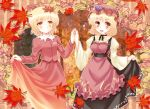 :d aki_minoriko aki_shizuha autumn_leaves blonde_hair blush dress food fruit grapes hair_ornament hat komiru leaf looking_back maple_leaf multiple_girls open_mouth red_eyes short_hair siblings sisters smile touhou