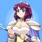 blue_eyes breasts bridal_gauntlets cleavage crown gauntlets henrietta_de_tristain jewelry large_breasts m_tateyama purple_hair ring short_hair shoulder_pads staff zero_no_tsukaima