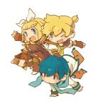 2boys 8'108 8'108 blonde_hair blue_eyes blue_hair chibi fang hair_ribbon kagamine_len kagamine_rin kaito multiple_boys open_mouth ribbon short_hair smile vocaloid