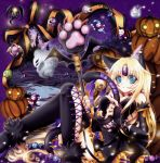 alternate_costume animal_ears blonde_hair blue_eyes breasts cat_ears cat_tail cleavage detached_sleeves dress eyeball eyeballs garter_straps halloween jack-o'-lantern jack-o'-lantern lace lace-trimmed_thighhighs pumpkin riesz seiken_densetsu seiken_densetsu_3 shindou_hayato staff tail thigh-highs thighhighs
