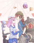 1boy 1girl blue_eyes blush brown_eyes brown_hair claydol drifloon hat kyouhei_(pokemon) pink_hair pokemon pokemon_(game) pokemon_bw2 red_eyes ruri_(pokemon) short_hair shorts smile umbreon visor_cap wooper
