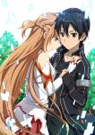 1girl arm_around_waist arm_holding asuna_(sao) bare_shoulders black_eyes black_hair braid breastplate brown_eyes brown_hair detached_sleeves fingerless_gloves gloves hikiyama_towa holding_arm kirito long_hair looking_at_viewer skirt sword_art_online
