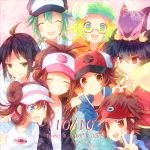 5boys ahoge baseball_cap bel_(pokemon) beret black_hair blonde_hair blue_eyes bow brown_eyes brown_hair cheren_(pokemon) closed_eyes dated double_bun english eyes_closed green_eyes green_hair grin hat hat_ribbon high_ponytail hue_(pokemon) jacket kokoroko kyouhei_(pokemon) long_hair looking_at_viewer mei_(pokemon) multiple_boys multiple_girls n_(pokemon) pokemon pokemon_(game) pokemon_bw pokemon_bw2 purrloin red_eyes ribbon shirt short_hair smile touko_(pokemon) touya_(pokemon) v vest visor_cap