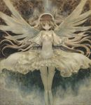 boots dress goddess_madoka grey kaname_madoka long_hair mahou_shoujo_madoka_magica oil_painting_(medium) solo suikaman_(kanikurimupasuta) thigh-highs thigh_boots thighhighs ultimate_madoka white_dress white_legwear wide_sleeves wings zettai_ryouiki