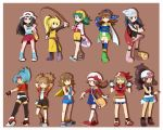 :p ^_^ backpack bag bandana bandanna bare_legs blonde_hair blue_(pokemon) blue_eyes blue_hair brown_background brown_hair closed_eyes crystal_(pokemon) dual_persona eyes_closed fingerless_gloves full_body gloves goggles goggles_on_head green_eyes haruka_(pokemon) hat highres hikari_(pokemon) hinata_(pokemon) hitomi_(pokemon) kotone_(pokemon) long_hair minami_(pokemon) mint_(pokemon) multiple_girls pigtails pokemon pokemon_(game) pokemon_bw pokemon_dppt pokemon_frlg pokemon_gsc pokemon_hgss pokemon_ranger pokemon_rse pokemon_special pokemon_trading_card_game ponytail porkpie_hat red_eyes short short_hair short_twintails skirt thigh-highs thighhighs tongue touko_(pokemon) twintails yellow yellow_(pokemon) yucopi