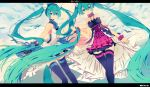 2girls 7th_dragon 7th_dragon_2020 dress green_eyes green_hair hatsune_miku letterboxed long_hair multiple_girls skirt thigh-highs twintails utm very_long_hair vocaloid