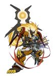 armor blonde_hair blue_eyes claws crescent dianamon digimon epic gel_shu long_hair mask no_humans scarf scythe sharp_teeth size_difference spikes very_long_hair