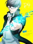 blue_fire card fire grey_eyes grey_hair houndstooth narukami_yuu persona persona_4 school_uniform short_hair solo toboso_yana