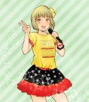 alternate_costume blonde_hair blush bracelet huang_baoling jewelry microphone short_hair singing skirt solo t-shirt tiger_&_bunny v yellow_eyes yokotobi