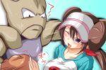 ;d aqua_eyes blush boxing_gloves brown_hair dodging double_bun hitmonchan mei_(pokemon) nishi_koutarou open_mouth pokemon pokemon_(game) pokemon_bw2 raglan_sleeves smile twintails visor_cap wink
