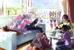 accelerator_family barefoot black_hair blue_eyes brown_hair choker couch cup dara feet last_order misaka_worst pillow plate ponytail red_eyes saliva sleeping sleeves_rolled_up table to_aru_majutsu_no_index track_suit vietnamese_dress white_hair yomikawa_aiho yoshikawa_kikyou