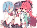 ^_^ akemi_homura anger_vein black_hair blue_hair blush bow closed_eyes dango_mushi directional_arrow eyes_closed hair_bow hairband long_hair mahou_shoujo_madoka_magica miki_sayaka multiple_girls plaid plaid_skirt ponytail purple_hair red_eyes red_hair redhead sakura_kyouko school_uniform short_hair shorts skirt smile