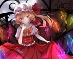 blonde_hair bow dress fang finger_to_face flandre_scarlet full_moon hat light_trail long_hair moon pokoruru red_dress red_eyes side_ponytail skirt_hold slit_pupils smile solo touhou wings