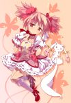 bow bubble_skirt choker frilled_skirt gloves hair_bow highres kaname_madoka kyubey magical_girl mahou_shoujo_madoka_magica pink_eyes pink_hair short_hair twintails ukke white_gloves