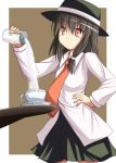 blush cup dress_shirt hand_on_hip hat jar marino_yuu necktie red_eyes saucer shirt skirt solo sugar table teacup touhou usami_renko