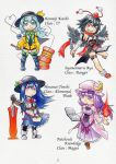 4girls :3 adapted_costume alternate_costume armor beads black_hair black_wings blue_eyes blue_hair book boots bow breasts crescent detached_sleeves dress eyeball fire food frills fruit hammer hat hat_bow heart heart_of_string hinanawi_tenshi kawachi_koorogi knife komeiji_koishi long_hair looking_at_viewer multiple_girls patchouli_knowledge peach purple_hair red_eyes shameimaru_aya sword sword_of_hisou third_eye tokin_hat touhou violet_eyes weapon wings wink