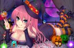:p bare_shoulders bat birdcage blue_eyes blush breasts cage character_doll chin_rest cleavage collarbone curtains detached_sleeves halloween hat hat_ribbon hatsune_miku highres holding jack-o'-lantern jack-o'-lantern kagamine_len kagamine_rin kaito large_breasts long_hair looking_at_viewer lying megurine_luka meiko mi_(liki1020) moon on_stomach petals pillow pink_hair pumpkin pumpkin_hair_ornament purple_moon ribbon skirt solo star striped striped_legwear thigh-highs thighhighs tongue vocaloid window witch witch_hat