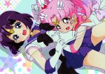 bishoujo_senshi_sailor_moon chibi_usa elbow_gloves gloves highres magical_girl multiple_girls neki_(wakiko) open_mouth pink_hair purple_eyes purple_hair sailor_chibi_moon sailor_saturn short_hair skirt smile star super_sailor_chibi_moon super_sailor_saturn tomoe_hotaru violet_eyes