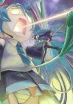 aqua_hair battle beam boots detached_sleeves hachune_miku hatsune_miku headset long_hair multiple_girls musical_note necktie open_mouth panties skirt spring_onion striped striped_panties sutocking thigh-highs thigh_boots thighhighs twintails underwear very_long_hair vocaloid