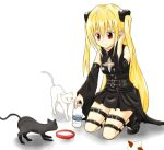 blonde_hair cat detached_sleeves konjiki_no_yami long_hair red_eyes red_hair redhead solo thigh_strap to_love-ru to_love-ru_darkness twintails