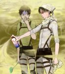 2boys 3dmg ascot belt black_eyes black_hair covering_face eren_jaeger green_eyes head_scarf levi_(shingeki_no_kyojin) multiple_boys nico1927 shaded_face shingeki_no_kyojin spray thigh_strap towel