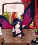 1girl accel_world antenna_hair arita_haruyuki black_hair butterfly_wings gloves highres kuroyukihime long_hair pig red_eyes wings