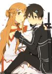 1boy 1girl asa_(krt!) asuna_(sao) black_eyes black_hair brown_eyes brown_hair couple fingerless_gloves flower gloves hair_flower hair_ornament kirito long_hair short_hair sword_art_online