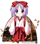 hiiragi_tsukasa japanese_clothes lucky_star miko purple_eyes purple_hair rindou_(awoshakushi) short_hair violet_eyes