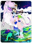 bouquet brown_hair dinosaur dinosaur_riding dress drinking flower original red_eyes riding shoes sky star_(sky) starry_sky stream teeth twintails tyrannosaurus_rex uoshiro white_dress