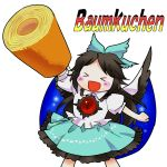 >_< 1girl :d alternate_weapon arm_up baumkuchen black_hair black_wings blush_stickers bow cake cape food german_flag hair_bow long_hair open_mouth puffy_sleeves reiuji_utsuho roll_cake short_sleeves simple_background sisenshyo skirt smile solo text third_eye touhou weapon white_background wings