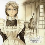 album_cover apron cello cover emma english glasses graphite_(medium) hair_up highres indoors instrument light_smile looking_away maid maid_headdress mori_kaoru official_art scan sepia solo traditional_media victorian victorian_romance_emma window