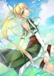 :d blonde_hair braid fairy_wings flying green_eyes highres leafa liy093275411 lyfa open_mouth pointy_ears signature sky smile sword_art_online twin_braids wings