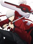 1boy back-to-back blazblue company_connection crossover gakuran green_eyes grey_hair heterochromia katana male multiple_boys mushisotisis narukami_yuu persona persona_4 persona_4:_the_ultimate_in_mayonaka_arena ragna_the_bloodedge red_eyes school_uniform short_hair spiked_hair spiky_hair sword weapon white_hair